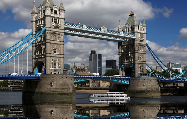 Картинка небо, вода, облака, отражение, Англия, Лондон, вечер, Европа, Великобритания, Темза, Тауэрский мост, sky, water, Europe, …