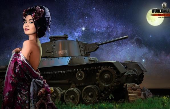 Картинка девушка, ночь, луна, Япония, танк, girl, танки, WoT, Мир танков, tank, World of Tanks, tanks, …