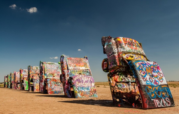Картинка машины, пустыня, графити