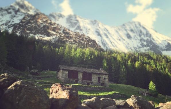 Картинка небо, солнце, облака, снег, горы, камень, тень, холм, сосны, хижина