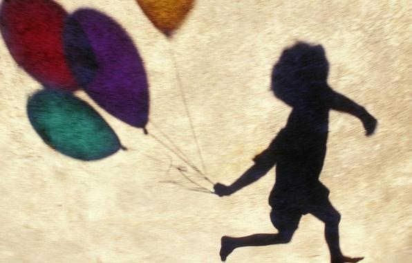 Картинка радость, воздушные шары, обои, тень, мальчик