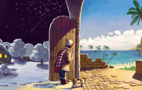Картинка зима, песок, море, кошка, лето, кот, звезды, облака, снег, деревья, ночь, огни, дом, пальмы, стена, …