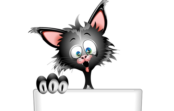 Картинка язык, глаза, кот, взгляд, морда, фон, вектор, уши