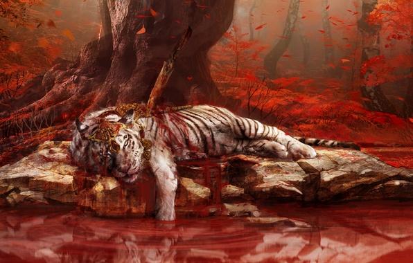 Картинка Вода, Отражение, Взгляд, Тигр, Деревья, Камни, Кровь, Джунгли, Озера, Ubisoft, Раны, Кинжал, Far Cry 4, ...