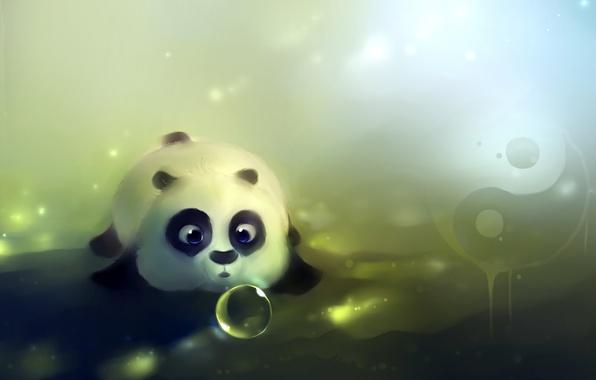 Картинка рисунок, шарик, медведь, мишка, панда, художник, лежит, пузырь, apofiss, инь-янь, dampling