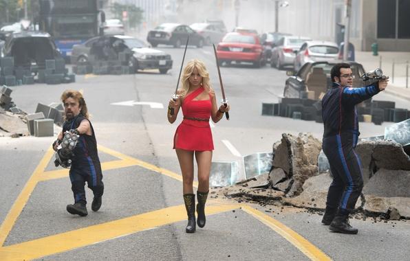 Картинка машины, секси, оружие, фантастика, катана, кадр, фигура, платье, шоссе, блондинка, красотка, мечи, в красном, Пиксели, …