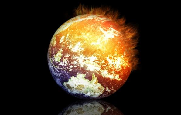 Картинка отражение, рендеринг, огонь, земля, планета