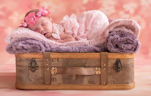 Картинка сон, девочка, чемодан, венок, младенец, спящая