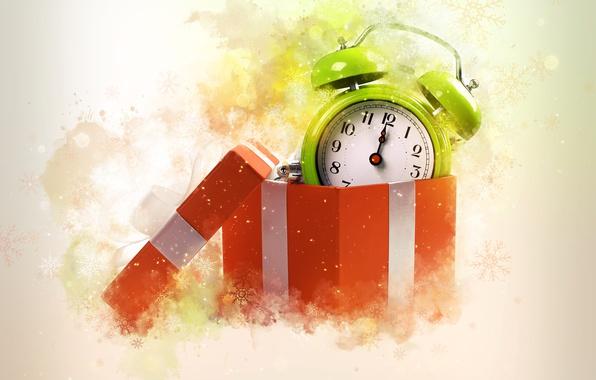 Картинка снежинки, фон, праздник, коробка, часы, будильник, Новый год