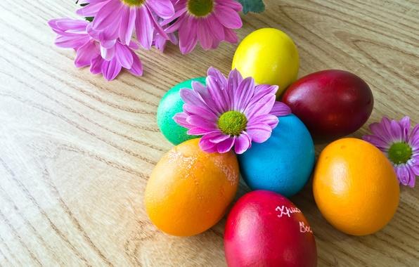 Картинка цветы, праздник, яйца, Пасха, Easter, крашенки