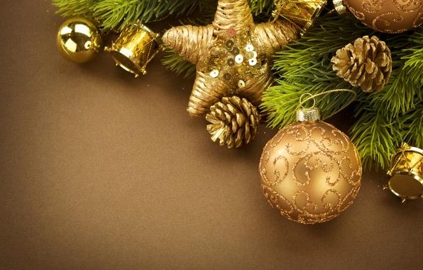 Картинка праздник, шары, игрушки, новый год, ель, декорации, шишки, happy new year, christmas decoration, новогодние обои, …