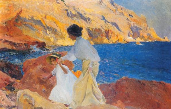 Картинка море, пейзаж, картина, жанровая, Хоакин Соролья, Клотильда и Елена на Скалах