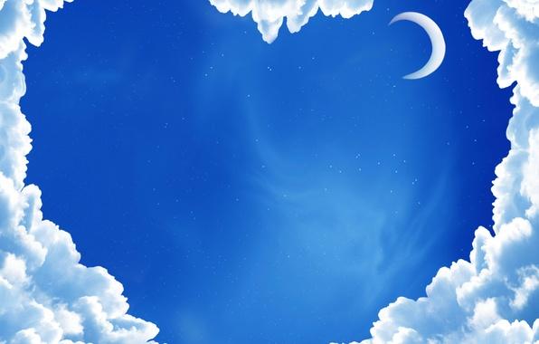 Картинка небо, звезды, облака, луна, сердце, синее