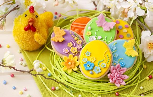 Картинка праздник, весна, colorful, печенье, пасха, flowers, sweet, глазурь, spring, eggs, holiday, easter, cookies, decoration, pastel, …