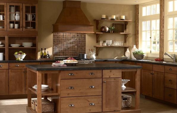 Картинка дизайн, стиль, комната, дерево, интерьер, кухня, посуда, деревянный, фрукты, квартира
