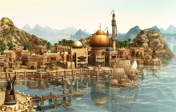 Картинка city, город, корабль, порт, путешествие, Anno 1404, прибытие, game wallpapers, ship, rendering, arrival