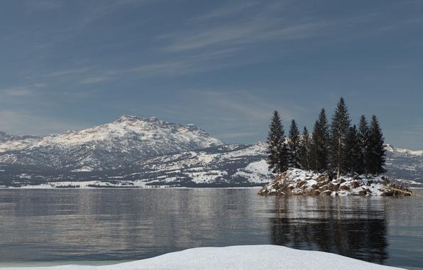 Картинка снег, деревья, горы, озеро, отражение, остров, ель, рябь, арт, островок