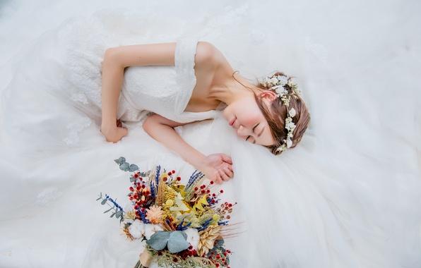Картинка девушка, букет, платье, невеста