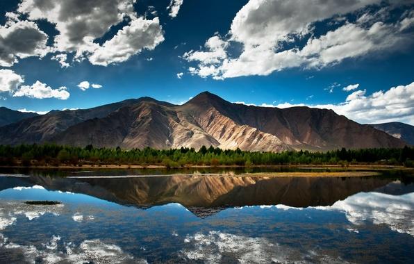 Картинка лес, лето, небо, облака, пейзаж, горы, природа, озеро, отражение, берег