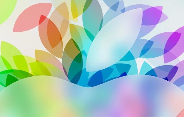 Картинка листья, узор, цвет, apple, яблоко, hi-tech