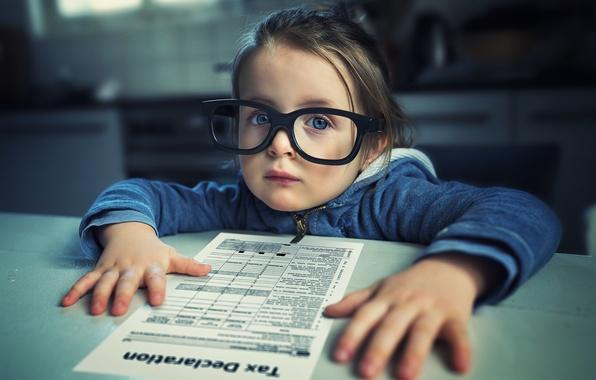 Картинка портрет, очки, девочка