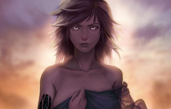 Картинка взгляд, девушка, ветер, робот, жест, art, lepus