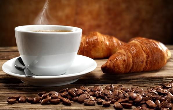 Картинка кофе, горячий, завтрак, чашка, cup, beans, coffee, круассаны, croissant, breakfast