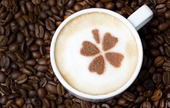 Картинка пена, узор, кофе, зерна, чашка, белая, напиток, листочки, капучино