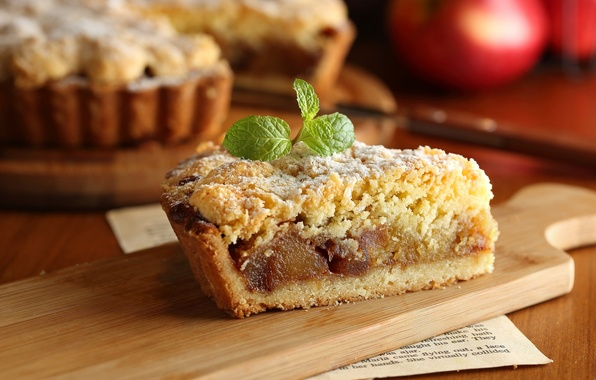Картинка яблоко, пирог, мята, выпечка, кусок