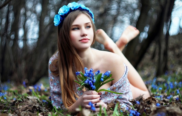 Картинка цветы, лицо, женщина, beauty, боке