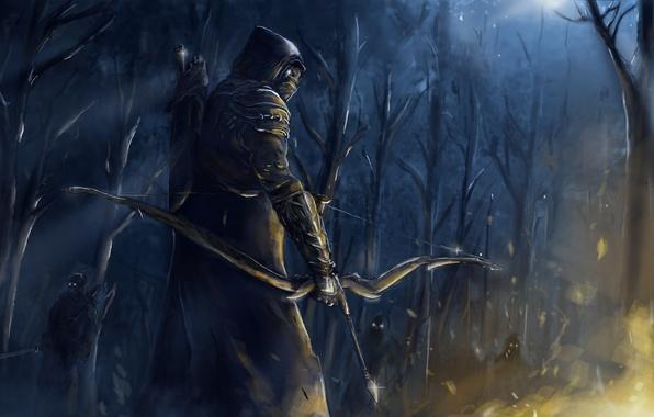 Картинка лес, ночь, оружие, люди, огонь, лук, арт, маски, лучник, The Elder Scrolls Online