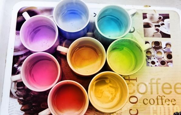 Картинка цвета, кофе, радуга, кружки, поднос
