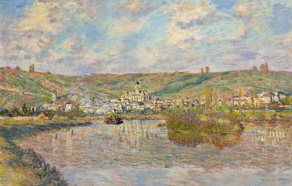 Картинка пейзаж, картина, Клод Моне, Вечер в Ветёе