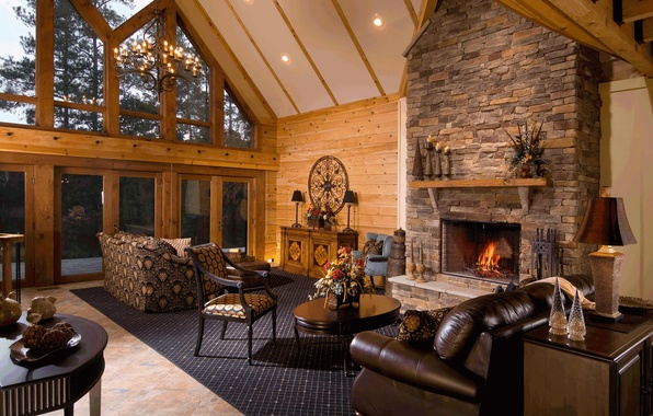 Картинка дизайн, дом, стиль, вилла, интерьер, камин, гостиная, жилая комната