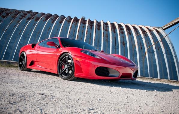 Картинка небо, красный, тень, red, ferrari, феррари, f430, ф430