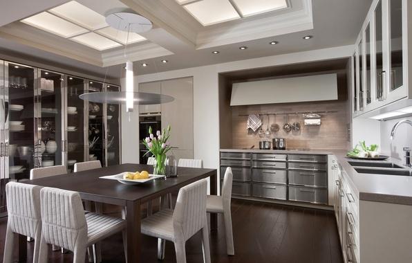 Картинка дизайн, стол, мебель, стулья, кухня, шкаф, design, interior, kitchen, посуда.