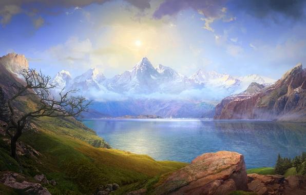 Картинка небо, облака, горы, озеро, камни, скалы, лодка, парус