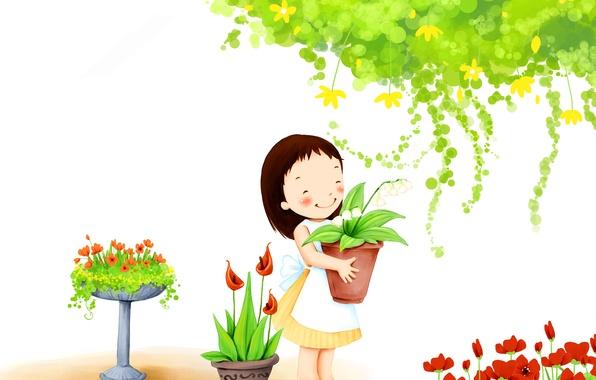 Картинка цветы, улыбка, листва, девочка, детские обои, горшочки, садик
