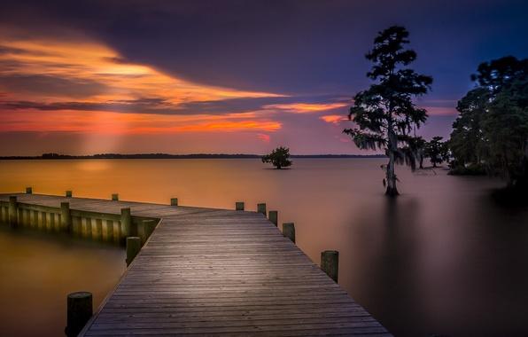 Картинка небо, деревья, пейзаж, закат, мост, природа