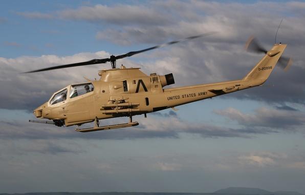 Картинка небо, полет, вертолёт, боевой
