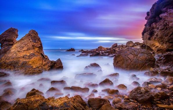 Картинка пляж, камни, океан, скалы, рассвет, California, USА, Corona del Mar