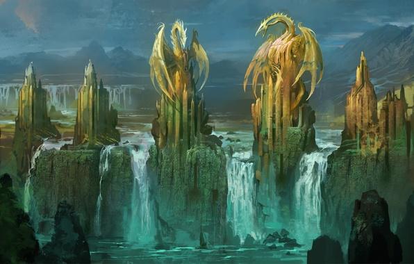 Картинка замок, скалы, водопад, драконы, арт, башни, статуи