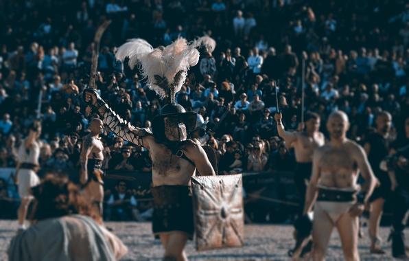 Картинка доспехи, шлем, щит, арена, гладиаторы