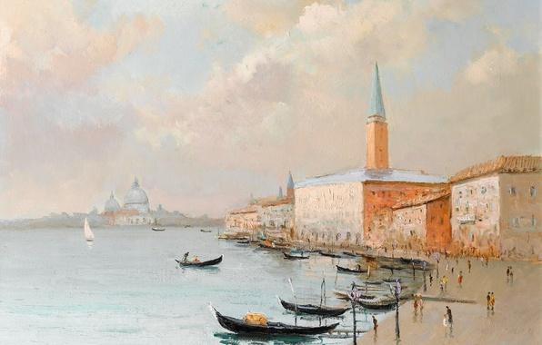 Картинка море, пейзаж, город, башня, дома, картина, лодки, Италия, Марсель Диф, Дворец Дожей в Венеции