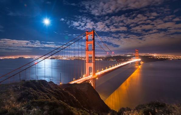 Картинка небо, свет, ночь, город, огни, пролив, луна, залив, Сан-Франциско, США, штат Калифорния, мост Золотые Ворота