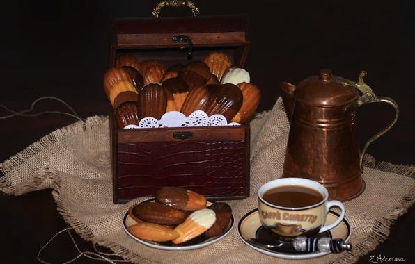 Картинка кофе, печенье, сундук, натюрморт, кофейник, мадлен