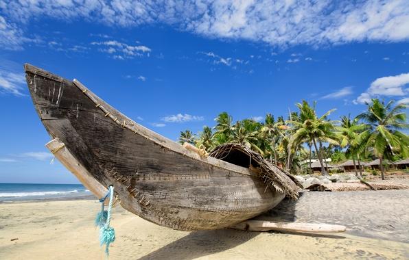 Картинка песок, море, пляж, лето, вода, пейзаж, океан, берег, побережье, лодка, рай, summer, beach, coast, view, …