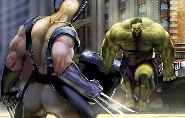 Картинка сила, противостояние, когти, битва, wolverine, халк, комикс, супер герои, hulk, superheroes, marvel comics росомаха