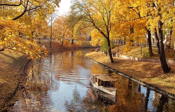 Картинка осень, деревья, природа, парк, река, лодка, листопад, river, trees, nature, Park, autumn, алея, boat, alley, …