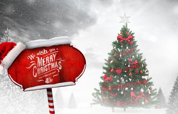 Картинка зима, снег, игрушки, елка, Новый Год, Рождество, Christmas, winter, snow, tree, decoration, Merry